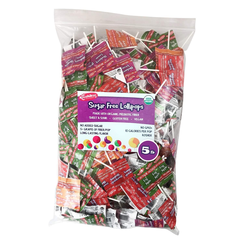 Koochikoo Bulk Bag Sugar Free Organic Lollipops, 5 LB