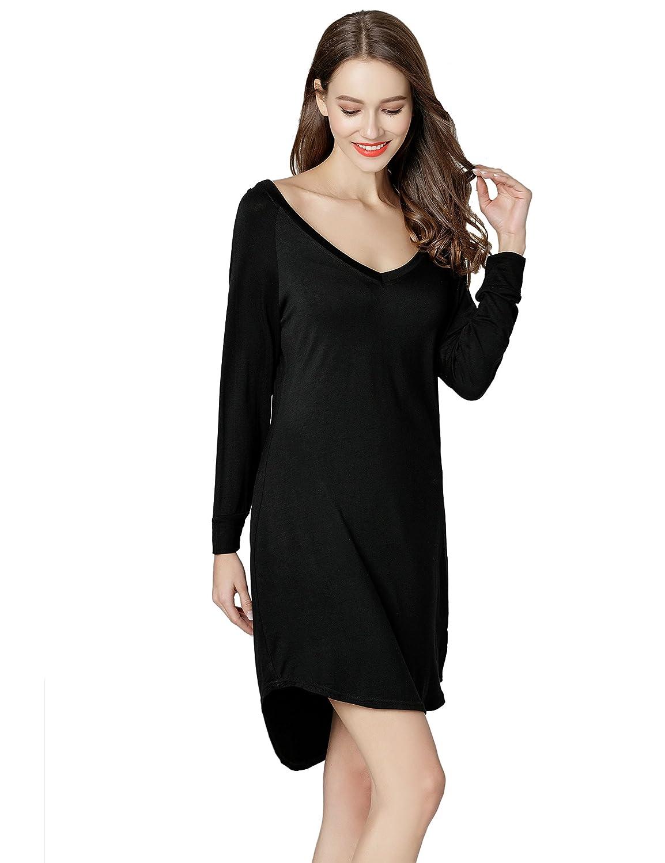 GUANYY Nightgown Sleepshirts Women's 3/4 Sleeve Sleepwear Nightshirts Sleep Dress