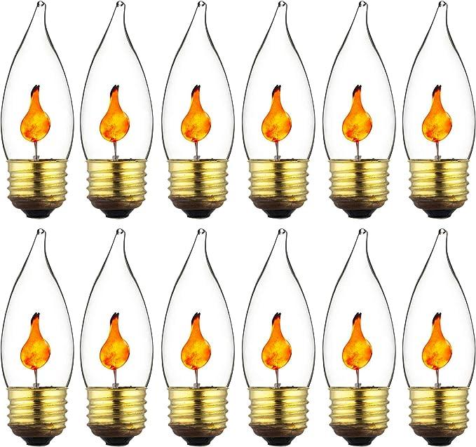 8-Pack Sunlite 3 Watt Incandescent Chandelier Flicker Candelabra Base bulb Clear