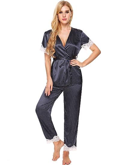 Ekouaer Pajama Sets Womens Short Sleeve Silky Satin Lace Sleepwear . b5c1c2e86