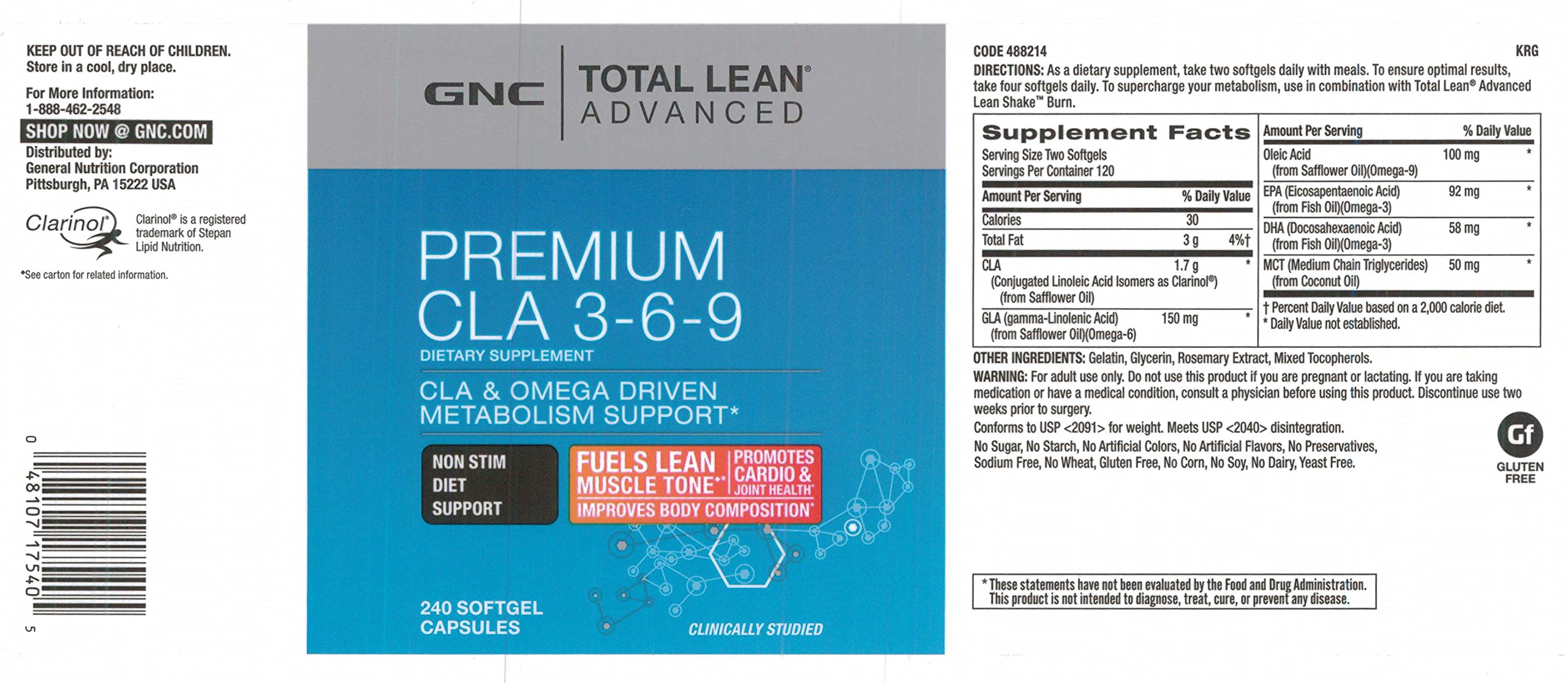 GNC Total Lean Advanced Premium CLA 3-6-9, 240 Capsules, Supports Exercise and Muscle Recovery by GNC (Image #2)
