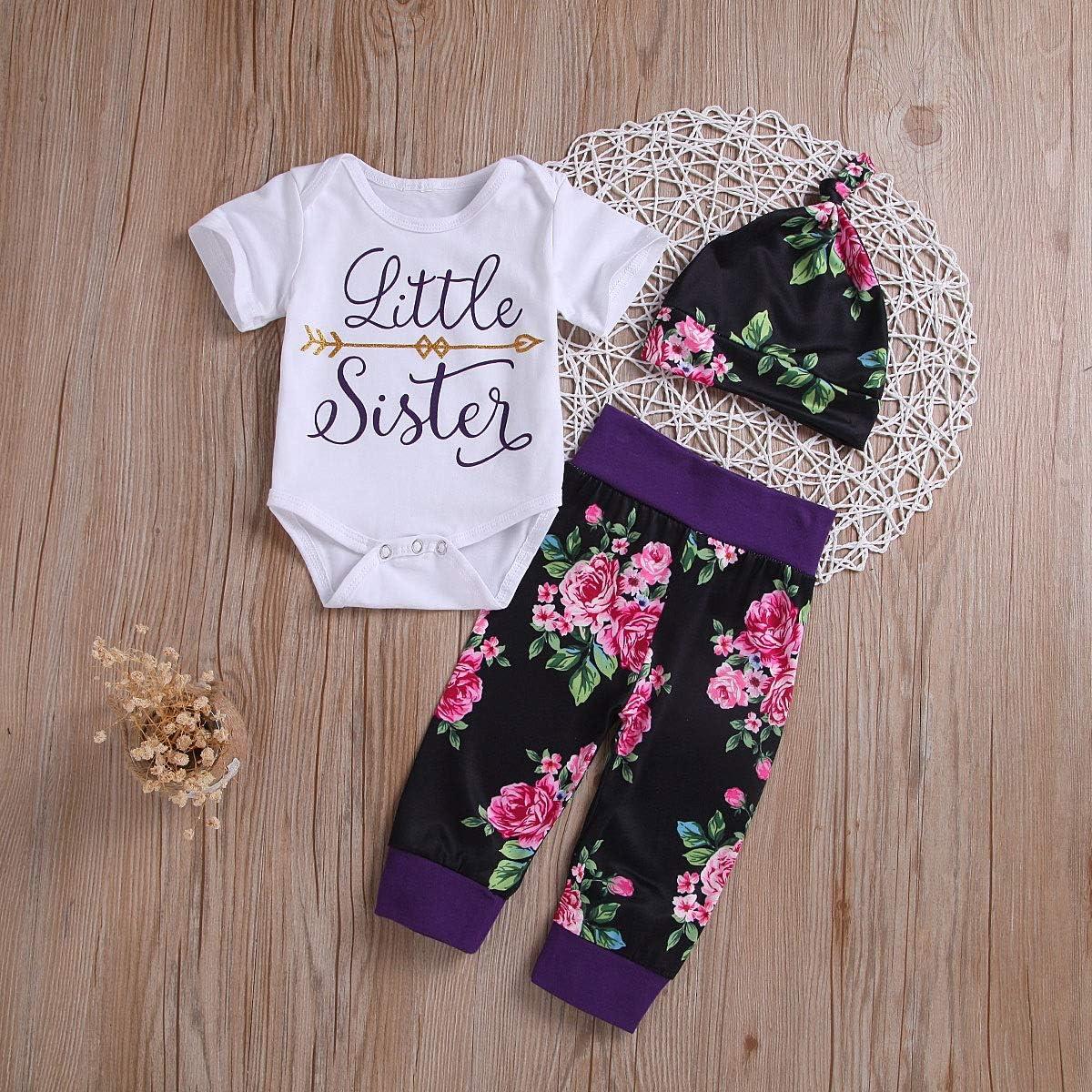 Set di Abiti per la Fascia Pantaloni Floreali Puseky Baby Girls Big Little Sister Corrispondenza per la Famiglia Vestiti a Maniche Corte Pagliaccetto
