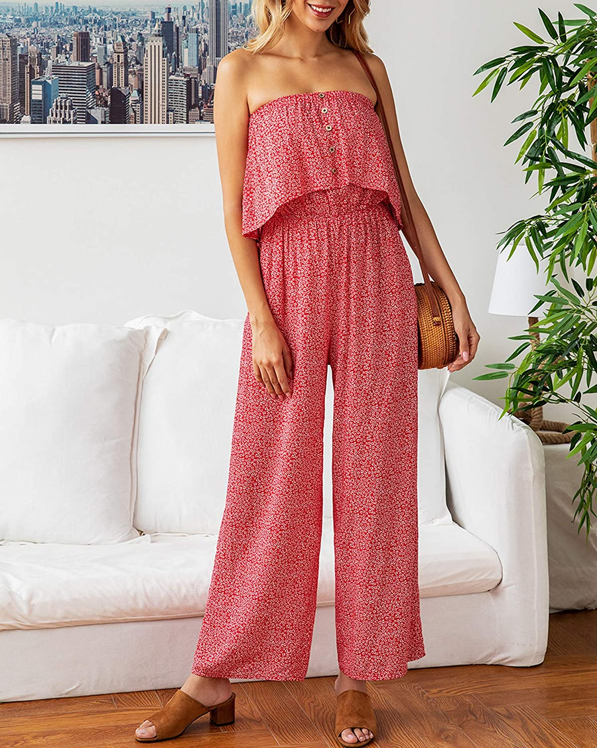 ECOWISH Womens Off Shoulder Floral Print Strapless Button Down Jumpsuit Open Back Wide Leg Rompers with Pockets