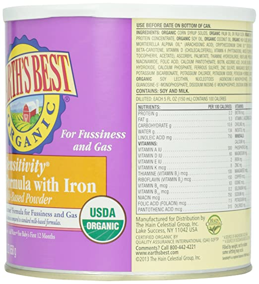 Earths BestInfant Formula Sensitivity w/Iron At least 95% Organic: Amazon.com: Grocery & Gourmet Food