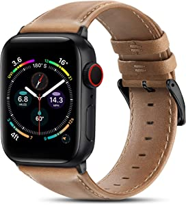 BRG Leather Bands Compatible with Apple Watch Band 44mm 42mm 40mm 38mm, Men Women Replacement Genuine Leather Strap for iWatch SE Series 6 5 4 3 2 1 Sport and Edition