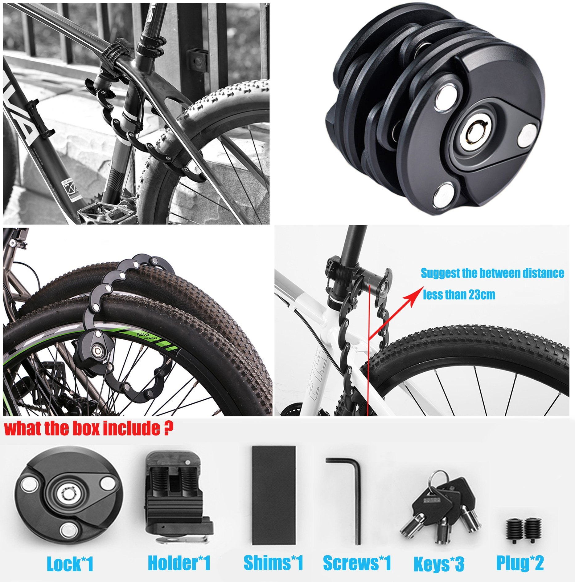 LoaferUp High Security Zinc Alloy Chain Lock for Bicycle/Motor Bike, Folding, Drill Against by by LoaferUp (Image #4)