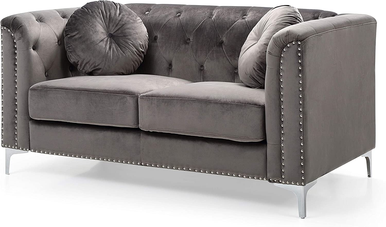 "Glory Furniture Pompano Love Seat, Dark Gray. Living Room Furniture, 31"" H x 62"" W x 34"" D"
