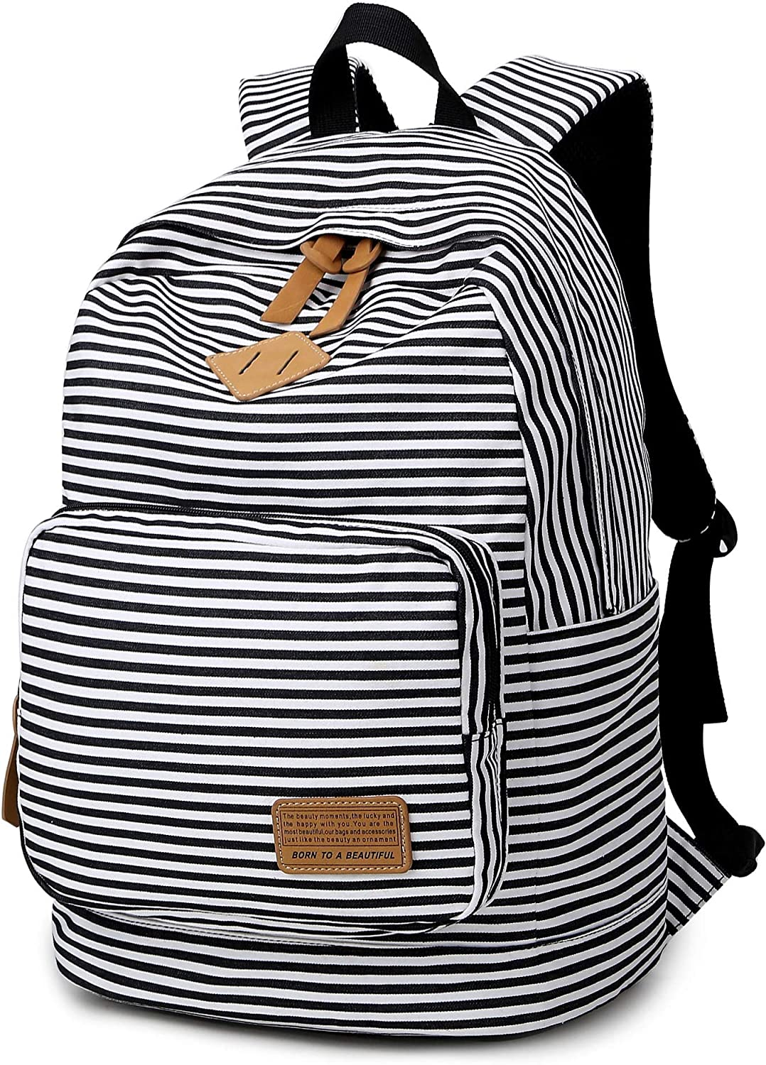 Ahyapiner Striped Canvas Backpack Girls School Bag Women Casual Travel Daypack