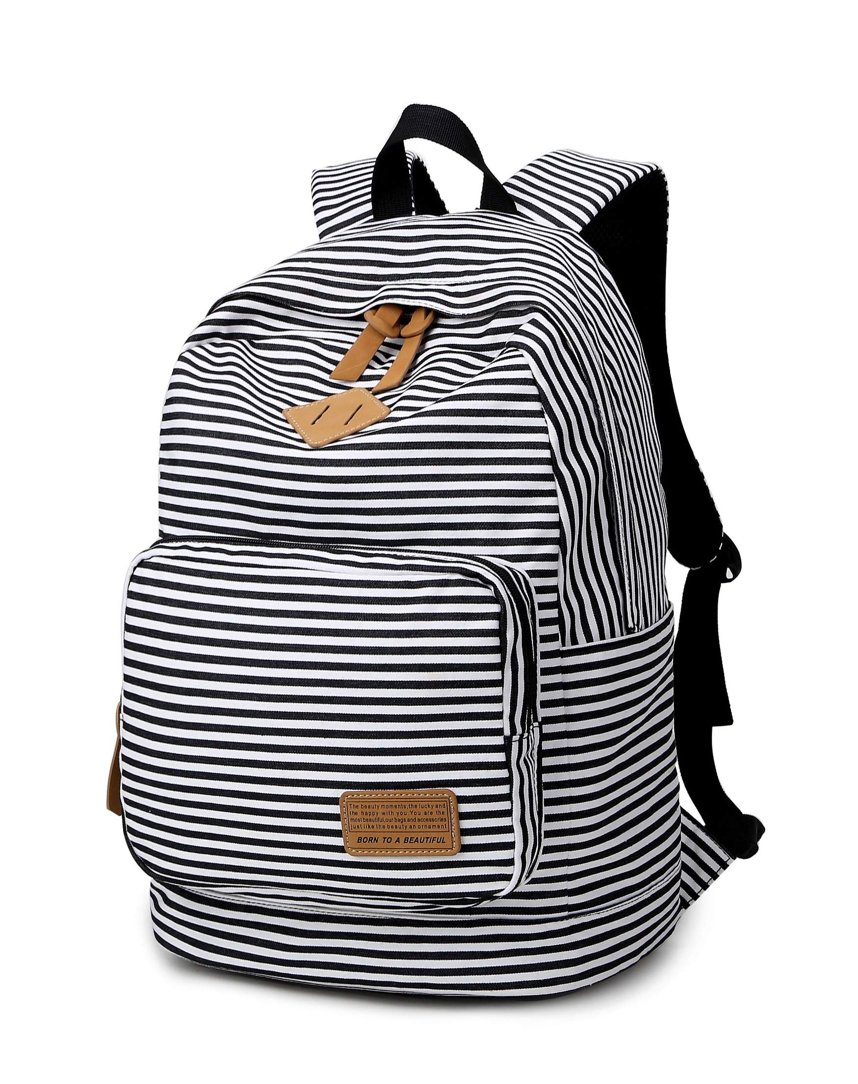 Ahyapiner Striped Canvas Backpack Shoulder Bag Women Casual Travel Daypack Black by Ahyapiner