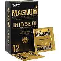 Trojan Magnum grote geribde en gesmeerde condooms met premium kwaliteit latex - pak van 12