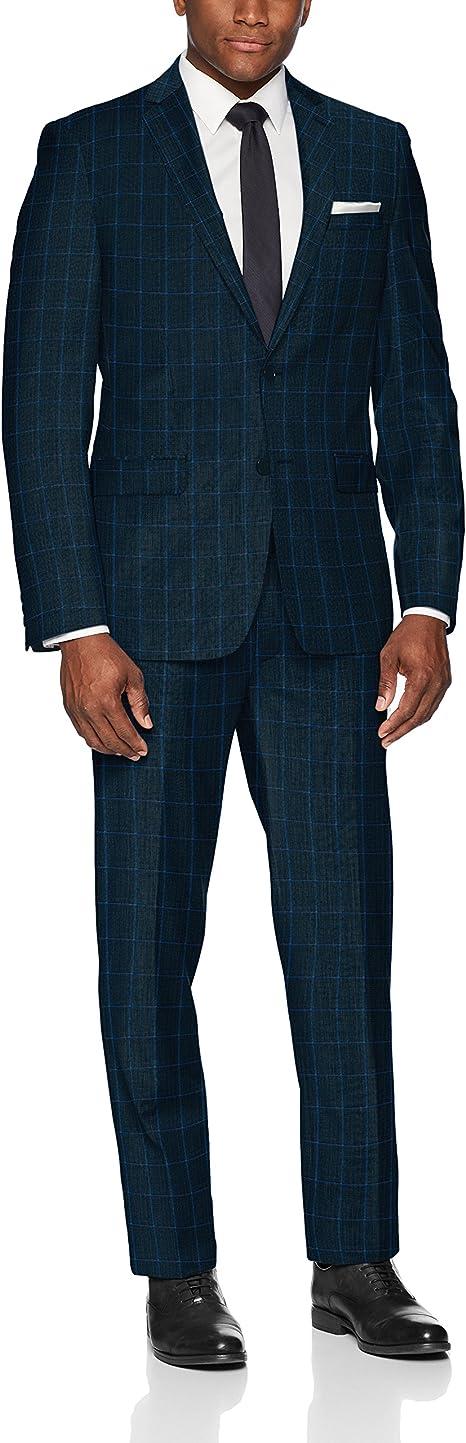 Calvin Klein Mens Slim Fit Stretch Wool Suit