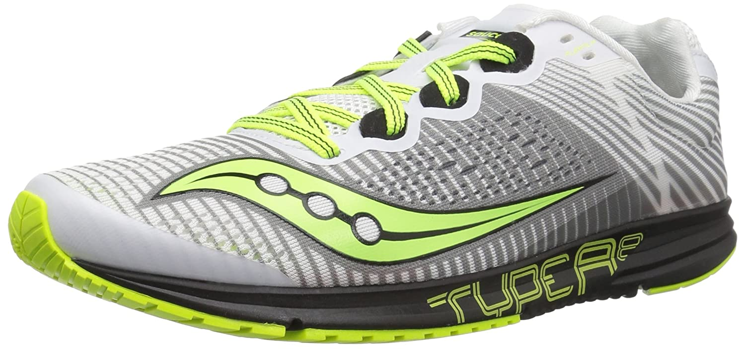 Saucony Men Type A8 Competition Running Shoe Running Shoes Shoes Running White - Black 43|blanc/noir/jaune 302ae7