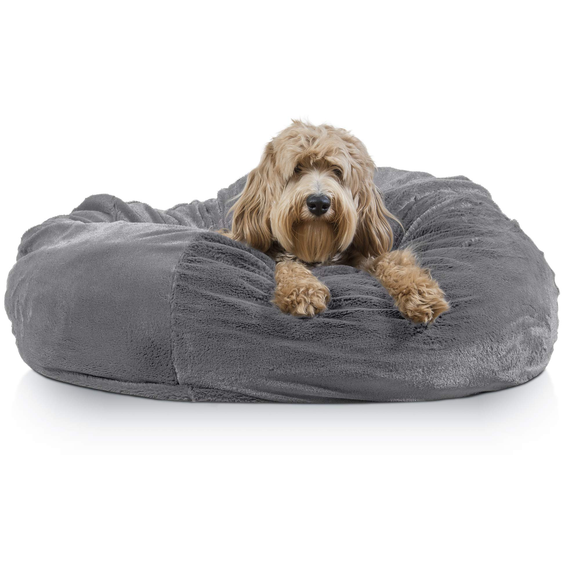 Furhaven Pet Dog Bed | Round Plush Faux Fur Refillable Ball Nest Cushion Pet Bed w/ Removable Cover for Dogs & Cats, Gray Mist, Jumbo by Furhaven