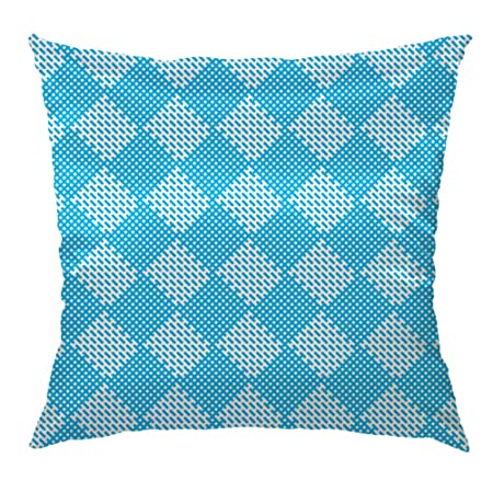 Hgod Designs Throw Pillow Cover Diagonal Blue Fabric Texture Pattern