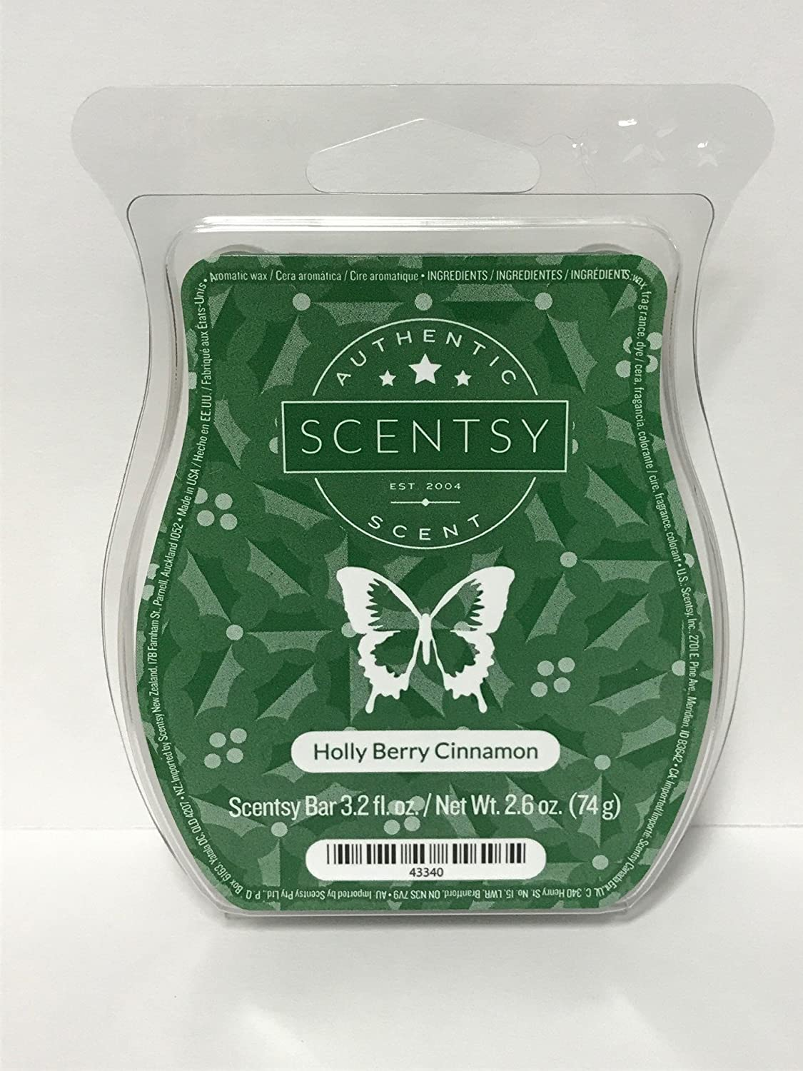 Scentsy Holly Berry Cinnamon Wickless Candle Tart Warmer Wax, 3.2 fl oz
