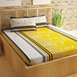 Story@Home Bedsheet for Double Bed With 2 Pillow Covers Combo Set, 100% Cotton - Magic Series, 152 TC, Floral Stripes (Yellow)