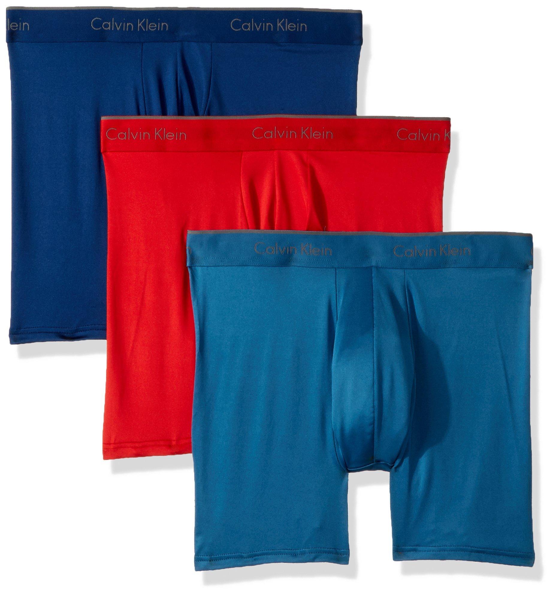 Calvin Klein Men's Microfiber Stretch Multipack Boxer Briefs, Capsize/Downpour/Manic red, XL