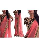 Dealbazaars Women's Georgette Zari Bordered Saree with Blouse Piece DL808BA_Pink_Free Size
