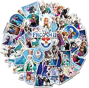 50Pcs Frozen Stickers Waterproof Vinyl Stickers for Water Bottle Luggage Bike Car Decals Anna and Elsa Stickers for Kids(Frozen)