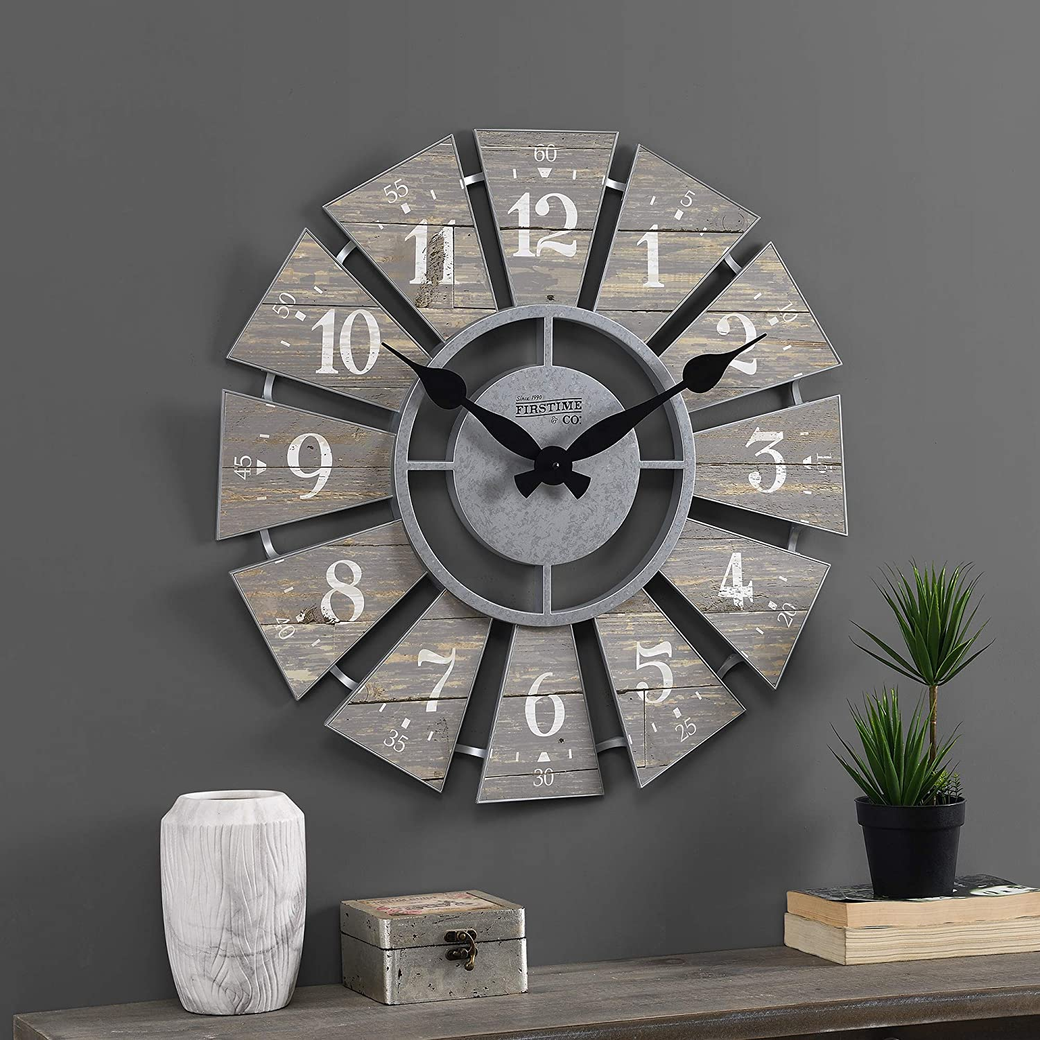FirsTime & Co. Gray Numeral Farmhouse Windmill Clock, American Crafted, Cool Gray, 24 x 2 x 24 ,