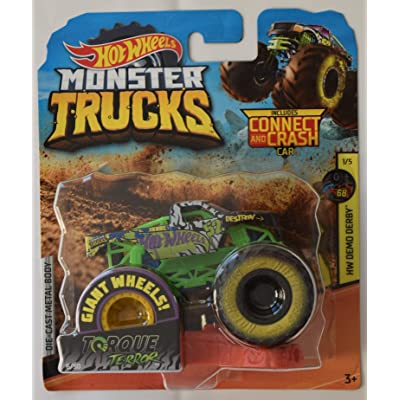 Monster Truck HOT Wheels 1:64 Scale HW Demo Derby 1/5, Torque Terror 6/50 Includes Connect and Crash CAR: Toys & Games