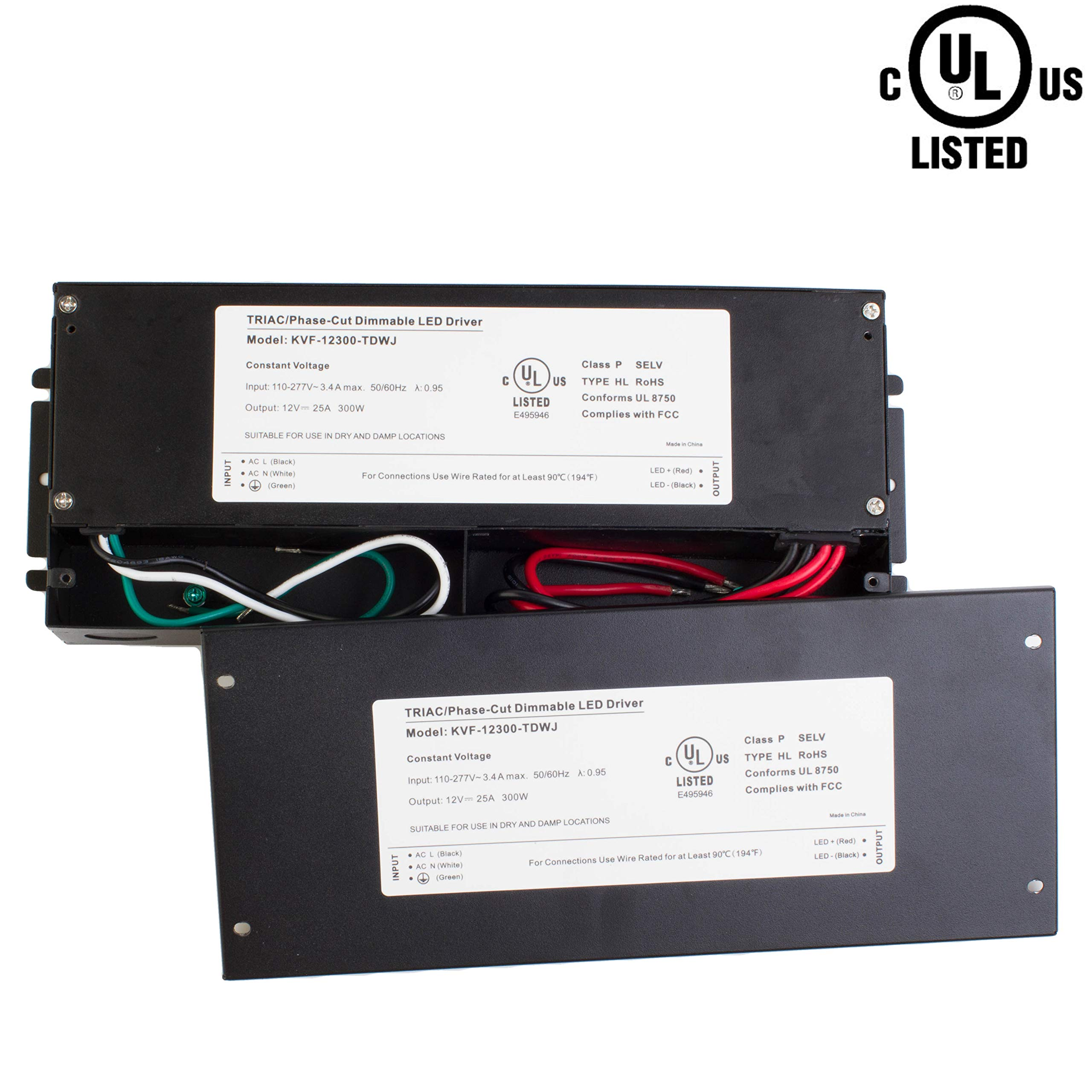 LEDupdates 12v UL Listed 300w Triac Dimmable Driver 100V - 277V AC Input Transformer Constant Voltage Power Supply for LED Strip light Control by AC Wall Dimmer (12v 300w) by LEDUPDATES (Image #9)