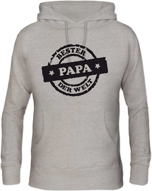 Bester Papa der Welt Stempel Pullover Shirtstreet24 Vatertag Herren Kapuzen Sweatshirt Hoodie
