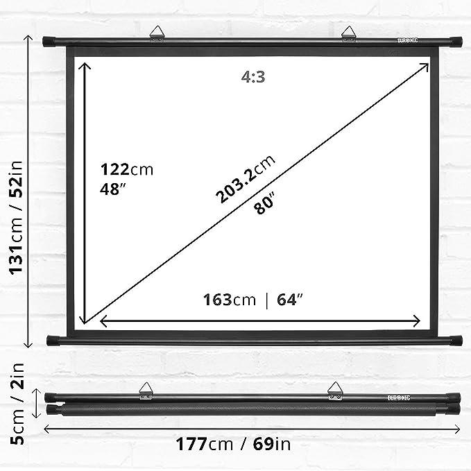 Duronic BPS80 /43 Pantalla de Proyección de 80 Pulgadas Montaje con Ganchos para Pared Pantalla Proyector (163 x 122 cm)