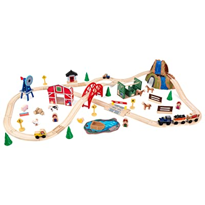 KidKraft Wooden Rural Farm Train Set with 75Piece, Children's Toy Vehicle Playset: Toys & Games