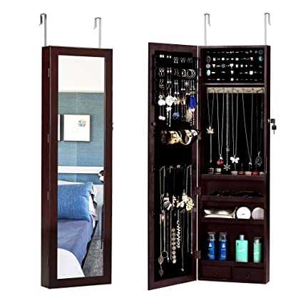 Amazon Com Bastuo Jewelry Cabinet Lockable Textured Wall Door