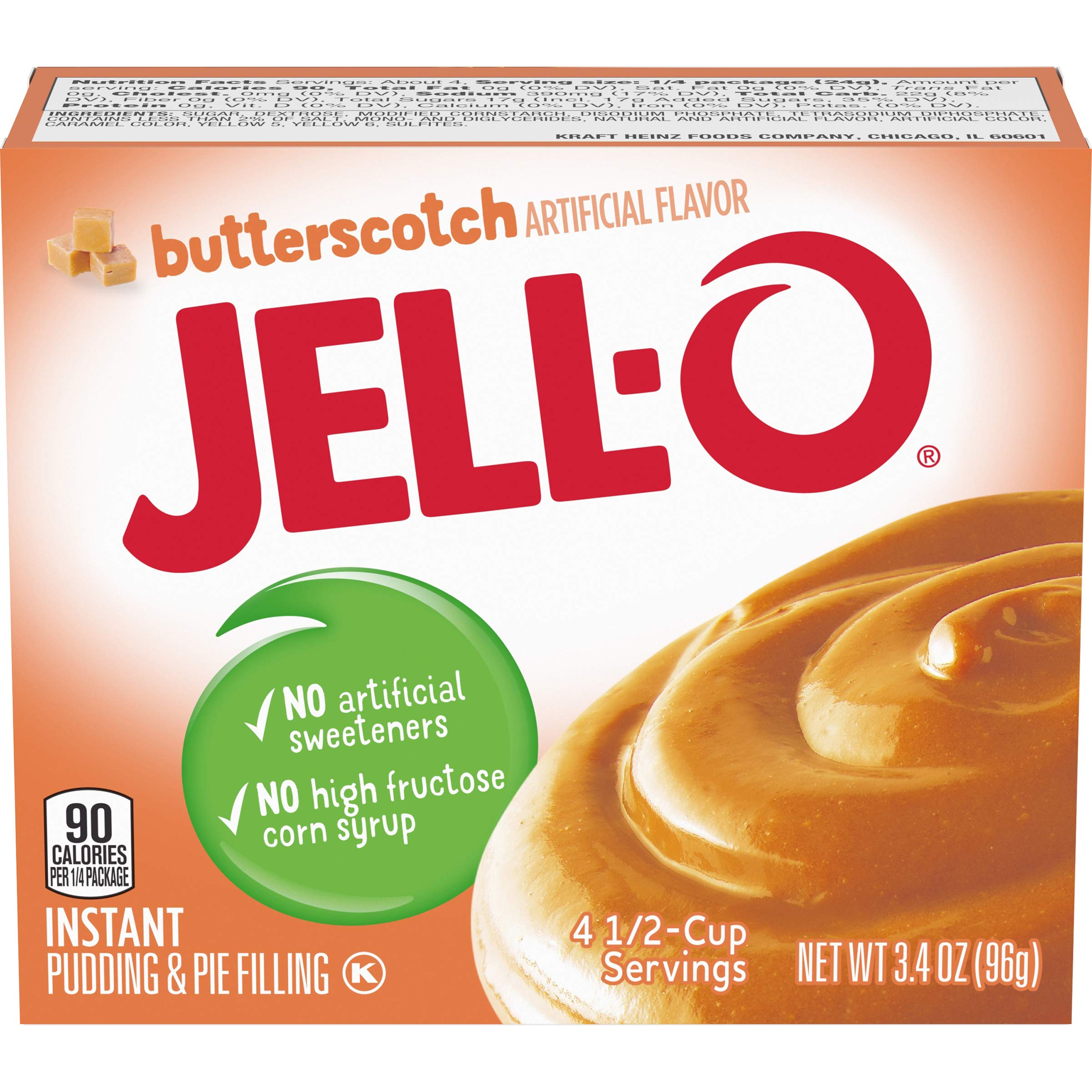 Jell-O Instant Butterscotch Pudding & Pie Filling (3.4 oz Boxes, Pack of 6)