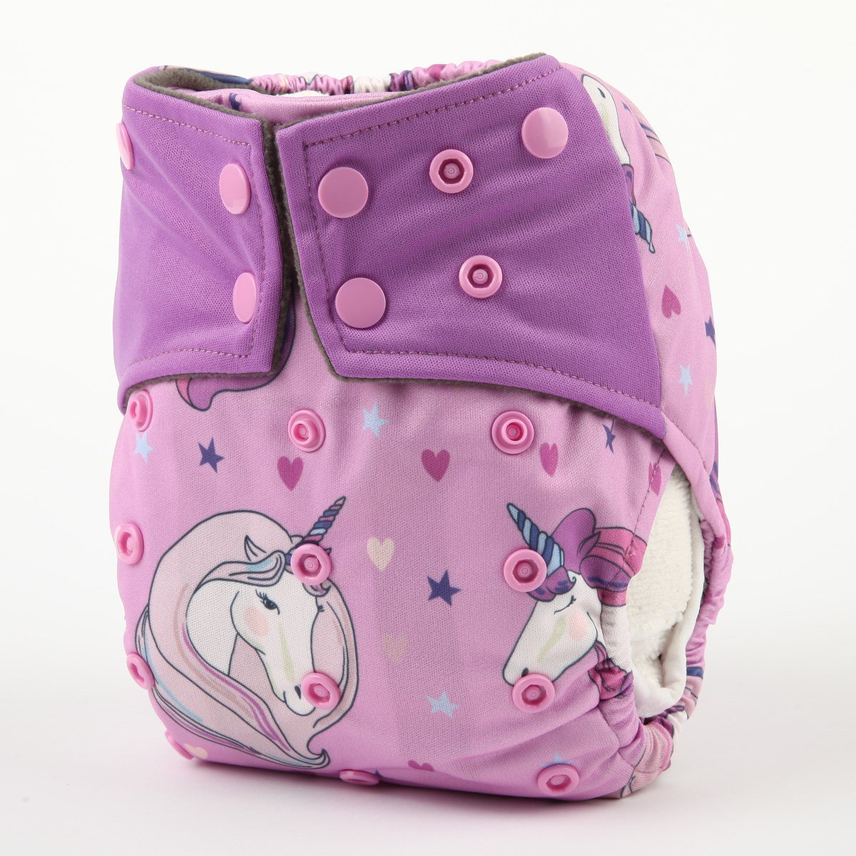 Pink Unicorn Sigzagor AIll in One Night AIO Cloth Diaper Nappy Sewn in Charcoal Bamboo Insert Reusable Washable