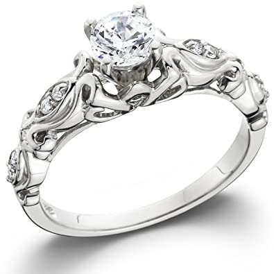 1 2CT Vintage Diamond Engagement Ring 14K White Gold