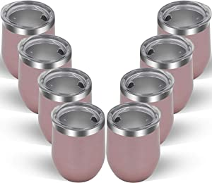 YESSIR 12oz Wine Tumbler 8 Pack Gifts In Bulk,Stemless Stainless Steel Wine Glasses Cup with Lid,Insulated Vacuum Travel Coffee Mug for Champaign,Cocktail,Beer,Gift for Women (Rose Gold,8)