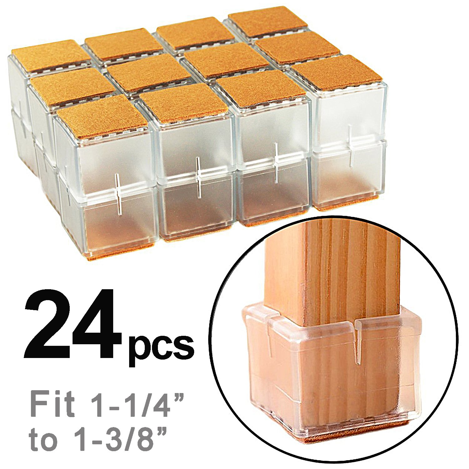 LimBridge Chair Leg Wood Floor Protectors, Chair Feet Glides Furniture Carpet Saver, Silicone Caps with Felt Pads #8, Square Length 1-1/4'' to 1-3/8'' (3.2cm-3.5cm) 24 Pack