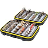 Outdoor Planet Assorted Trout Fly Fishing Lure Pack of 10/ 12/ 15/ 28/ 35/ 48 /66 Pieces Fly Lure + Double Side Waterproof Pocketed Fly Box