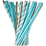 Paper Straws Drinking Decoration Straw for Birthday, Wedding, Christmas, Celebration Parties, 100 Pieces (Gold and Blue)