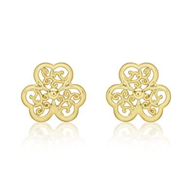 New 9ct Yellow Gold Filigree Heart Stud Earrings