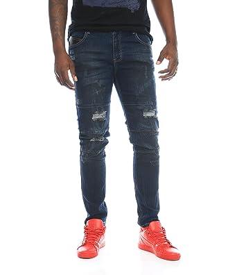 da71def030d9a Kayden K Men's Crinkle Destroyed Stretch Skinny Denim Jeans-Dark Blue-34