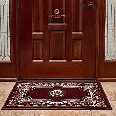 Front Door Mat Welcome Doormat for Home, Indoor, Entrance, Kitchen, Patio, Entry - Waterproof Low Profile Entryway Rug - Natural Jute Backing - Power Loomed in Turkey | 24  x 36 , Kingdom Burgundy