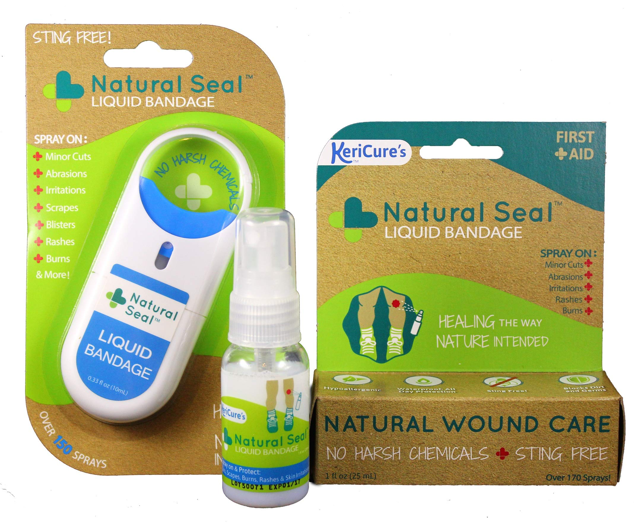 Natural Seal Liquid Bandage; Combination 2 Pack; Traditional 1oz Spray Plus On-The-Go Spray on Liquid Bandage; Sting Free, Natural, Safe and Effective by KeriCure