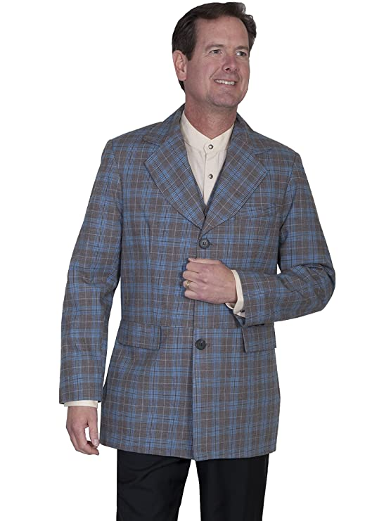 Men's Vintage Style Suits, Classic Suits Scully Western Coat Mens Plaid Town Button Front Flap Pockets 541489 $75.00 AT vintagedancer.com