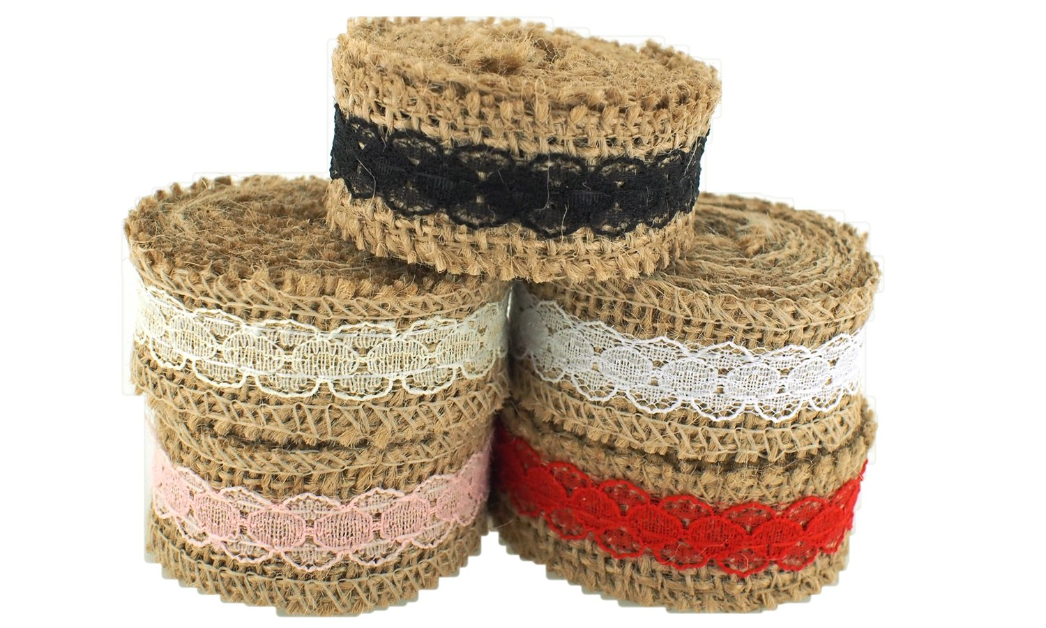 Trimweaver 10-Yard Natural Burlap with Lace Ribbon Variety Pack for Craft, 1-Inch, Pink/White/Black/Red/Ivory
