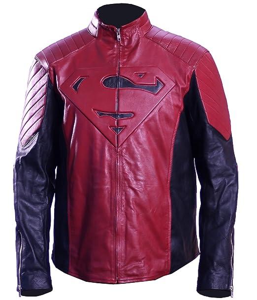 Amazon.com: Chaqueta de piel para hombre Superman V2 ...