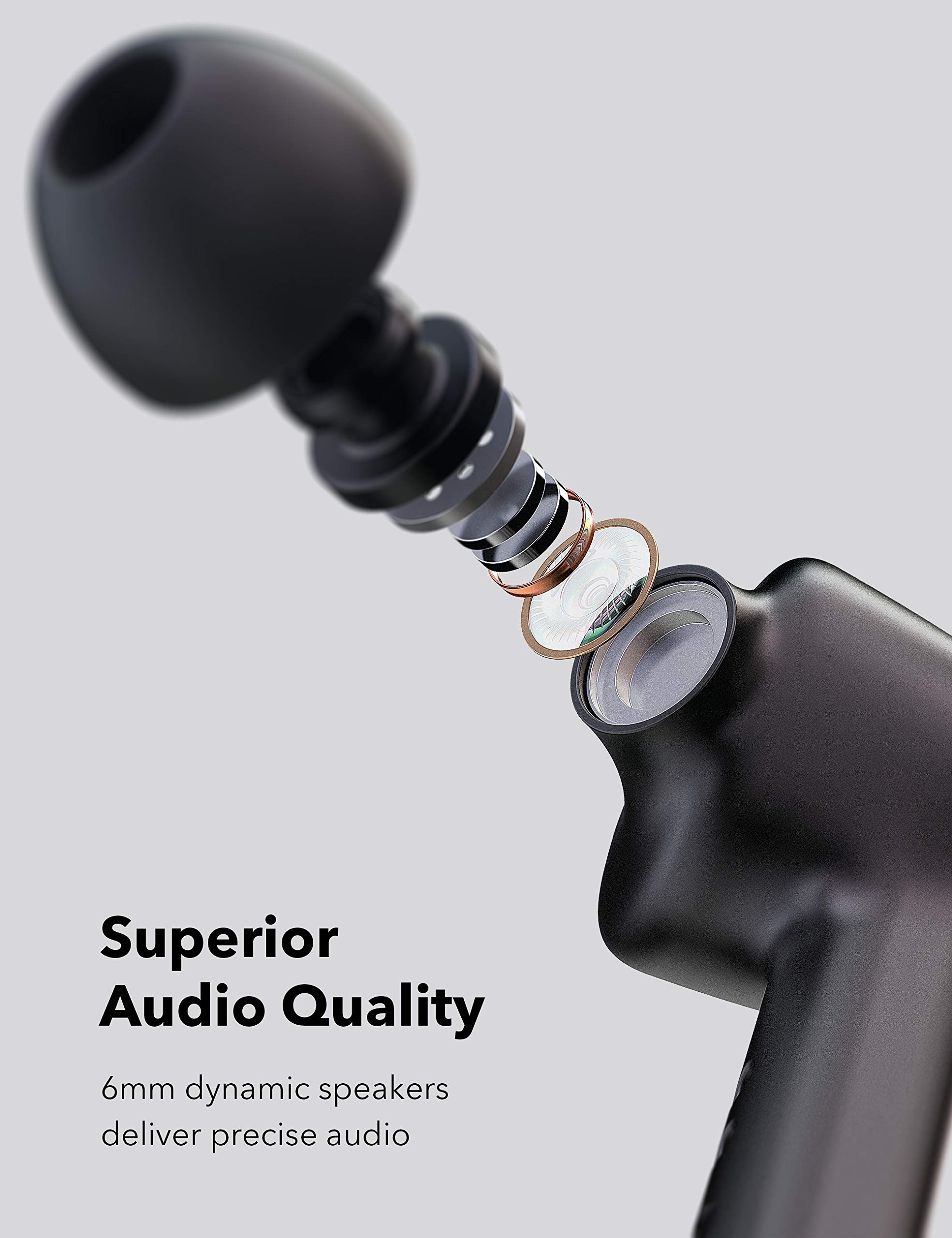 Wireless Earbuds, TaoTronics Bluetooth 5.0 Headphones SoundLiberty 53 in-Ear Earphones IPX7 Waterproof Smart Touch Control Bluetooth Earbuds Single/Twin Mode with Built-in Mic 40 H Playtime TT-BH053 by TaoTronics (Image #5)