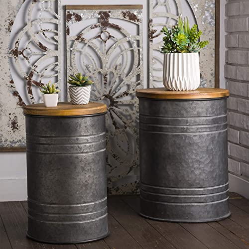 Glitzhome Rustic Storage Bins Accent Side Table Home Furniture Galvanized Metal Stool Ottoman Seat with Round Wood Lid Set of 2