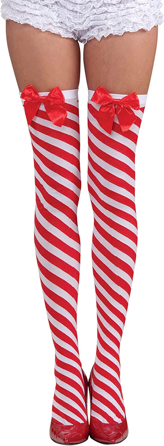 Forum Novelties Women's Candy Cane Thigh Highs, Red/White, One Size: Clothing