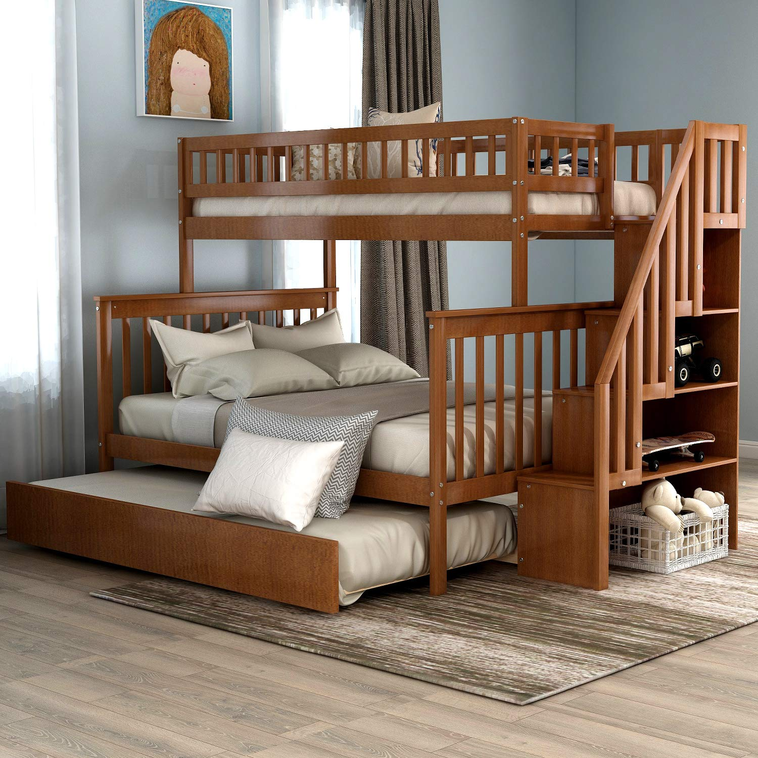 Twin-Over-Full Bunk Bed for Kids, Trundle Bed Loft System with Storage in The Steps, Warm Walnut