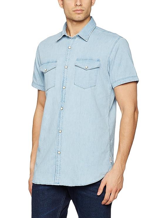 JACK & JONES Jorone Shirt SS Noos Camisa de los Pantalones Vaqueros para Hombre