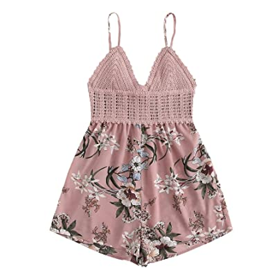 SheIn Women's Boho Crochet V Neck Halter Backless Floral Lace Romper Jumpsuit: Clothing